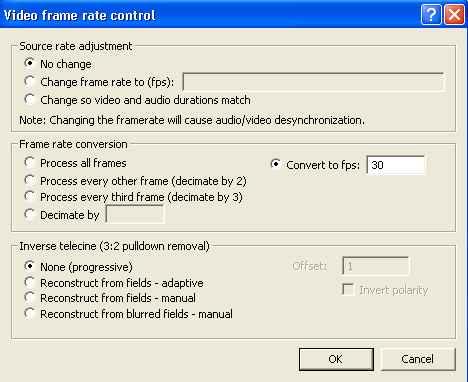 VirtualDub Framerate