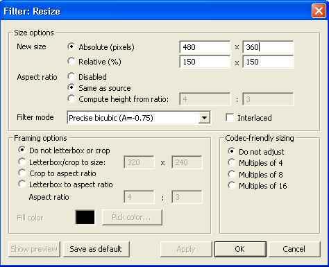 VirtualDub Resize