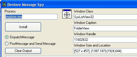 selected window info